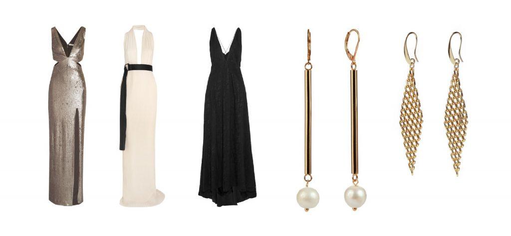 Vestidos: Haslton Heritage, Solance London y Michael lo sordo. Aretes perla con palito y aretes rombo, ambos de Tierra Rossa.