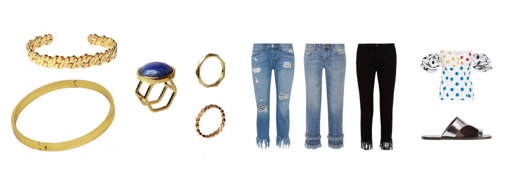 Look con jeans flecos: Brazaletes y anillos de Tierra Rossa, jeans 3x1, MK y 3x1 nuevamente. Blusa de Caroline Constas y sandalias ATP Atelier.